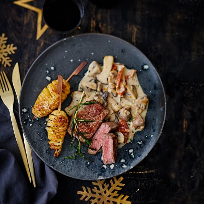 Photo de Bifteck aux pommes de terre Hasselback et sauce aux champignons prise par WW