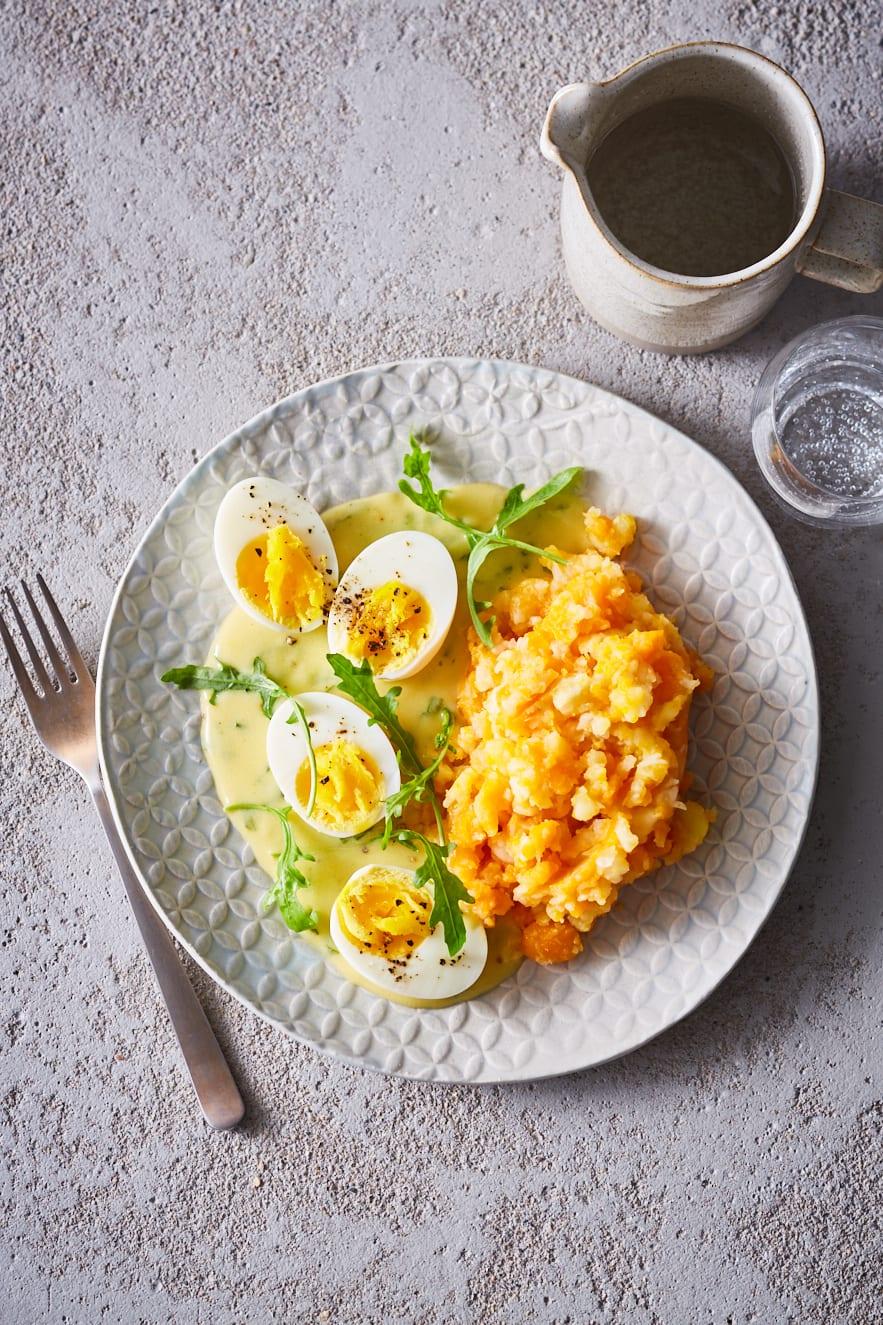 Foto van Eieren in mosterdsaus met hutspot door WW