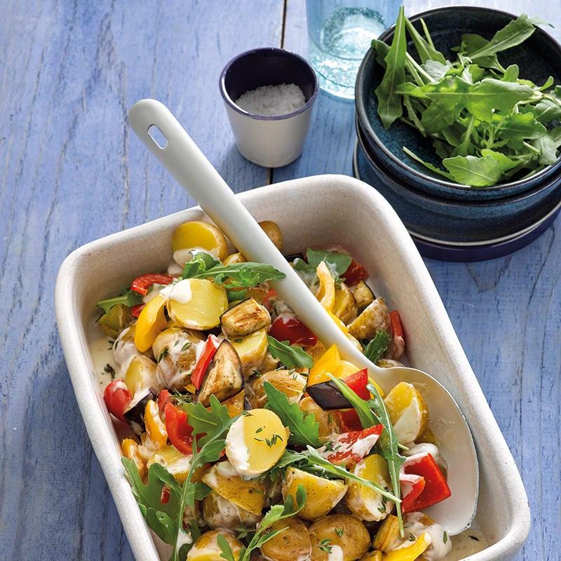 Foto van Mediterrane aardappelsalade met aubergine door WW