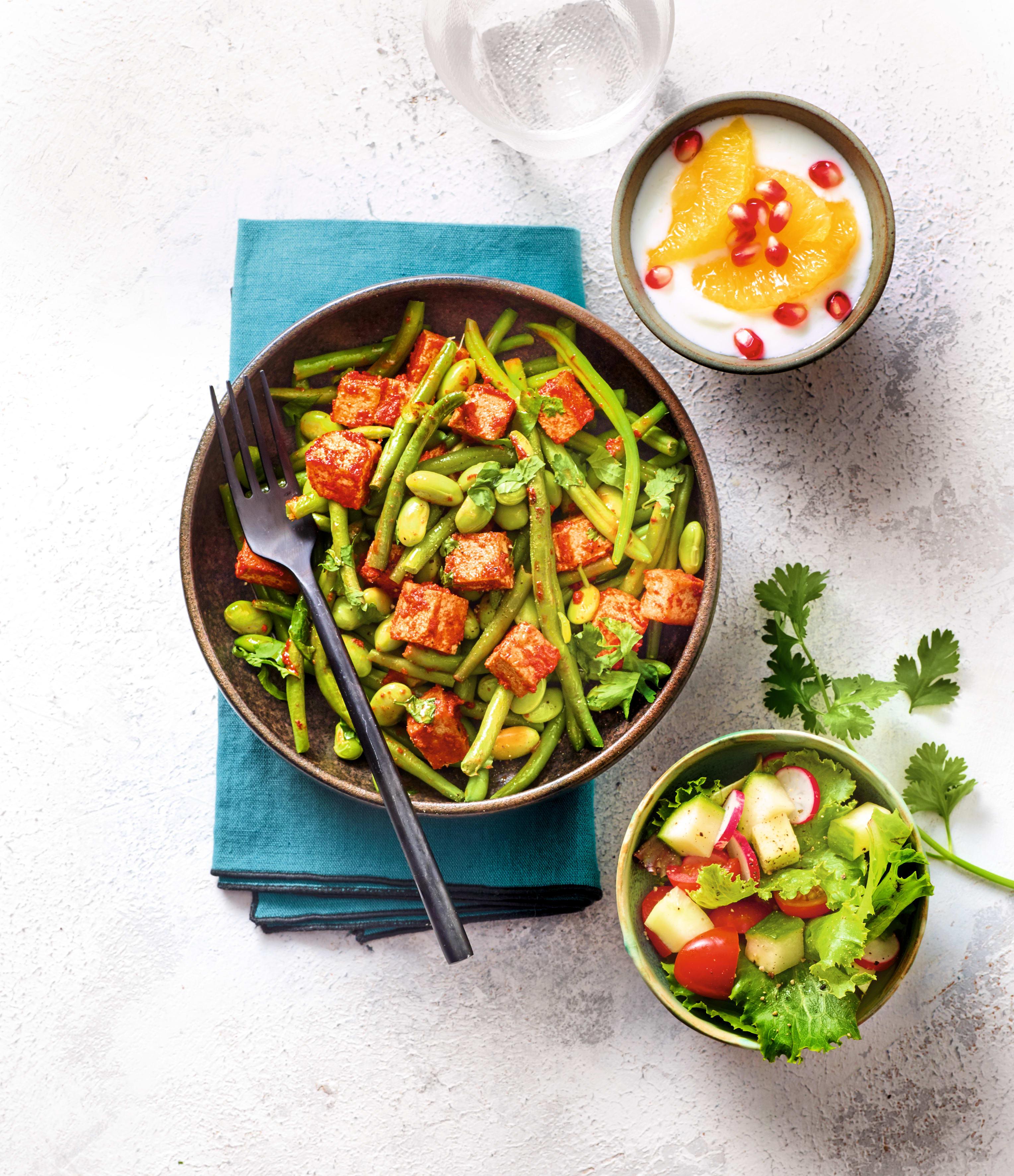 Photo de Haricots verts, edamame et tofu grillé au paprika prise par WW