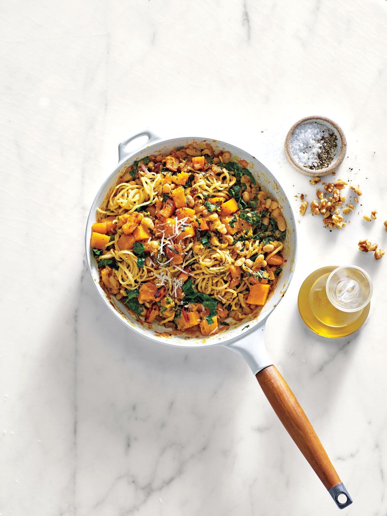 Photo de Spaghettis au butternut, haricots blancs et chou kale prise par WW