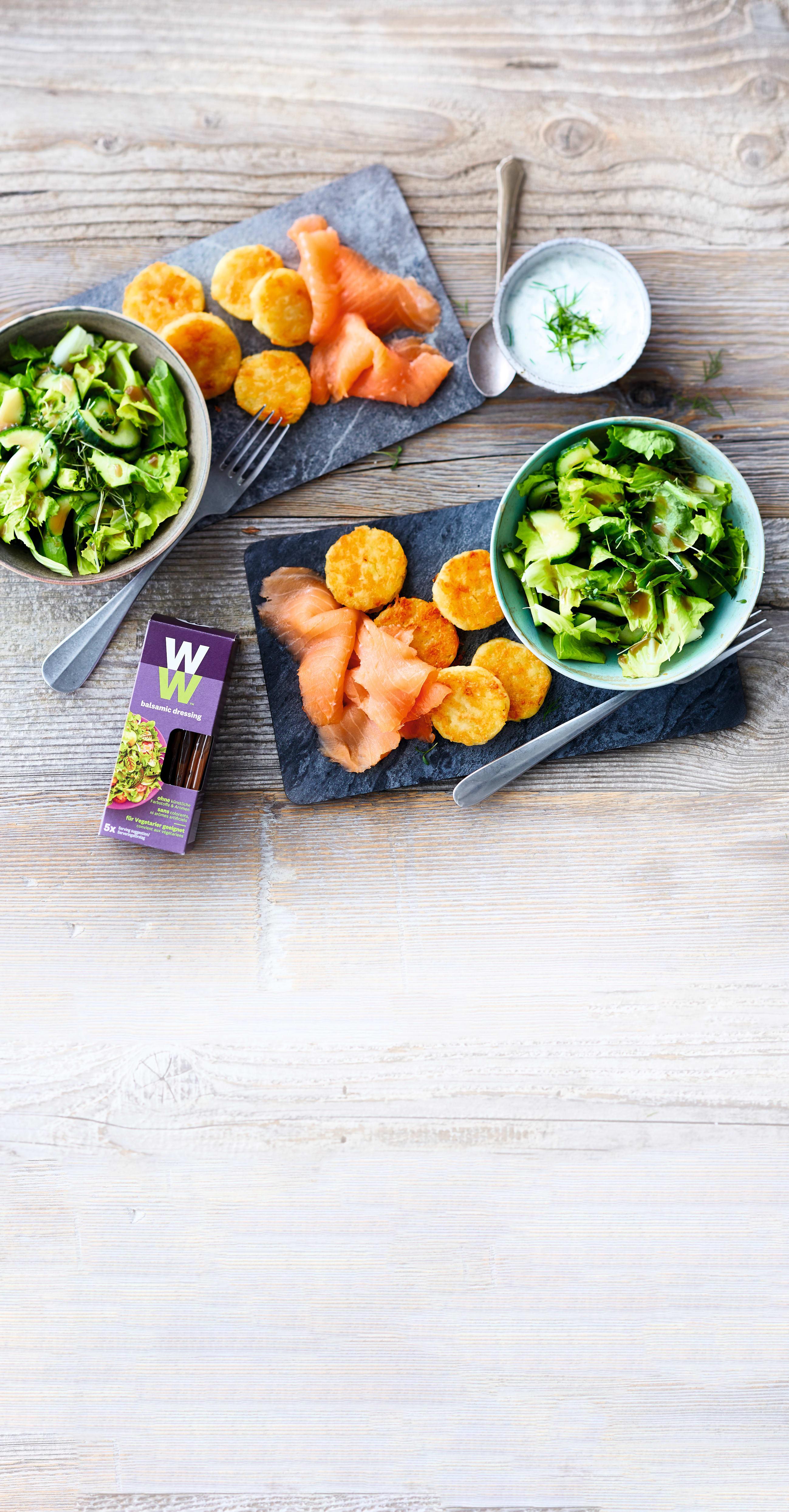 Photo de Saumon, röstis et salade mixte prise par WW