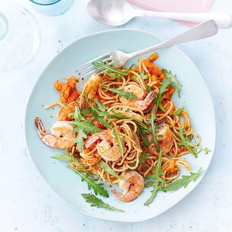 Photo de Spaghettis aux crevettes et tomates prise par WW