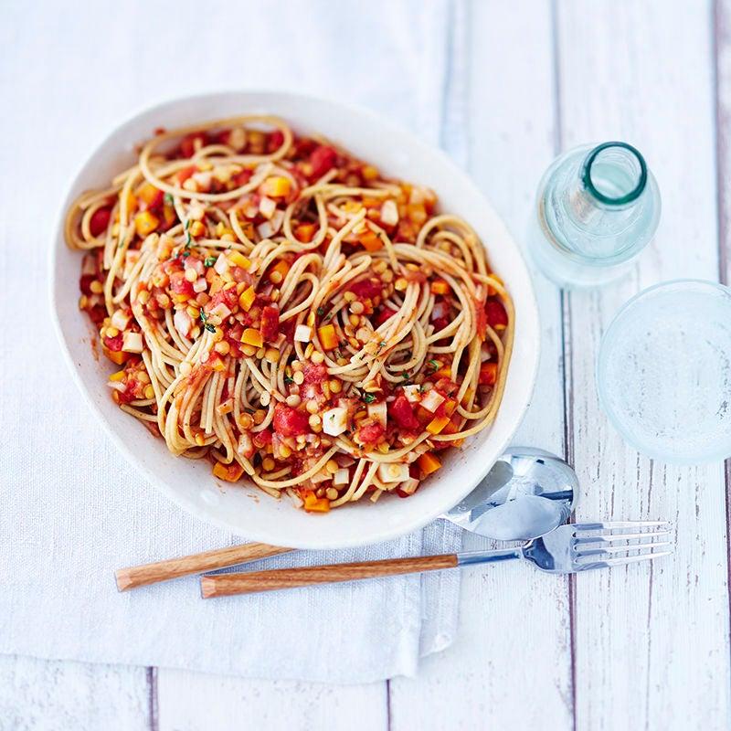 Foto van Vegetarische spaghetti bolognese door WW