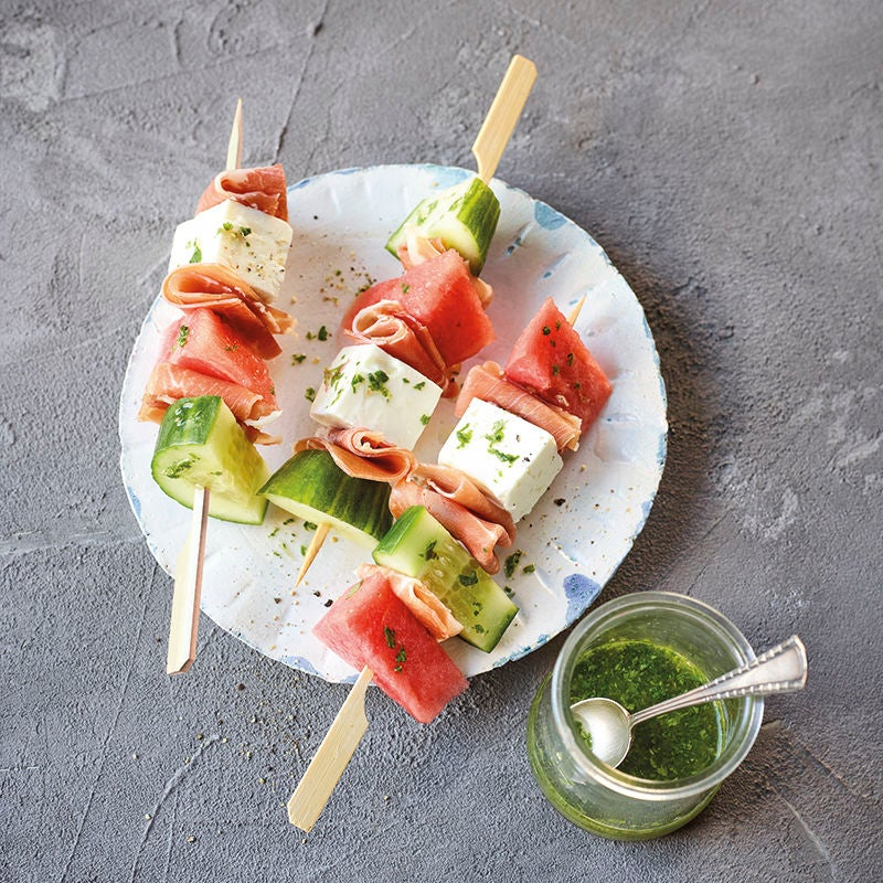 Photo de Brochettes de jambon, fruits et feta prise par WW