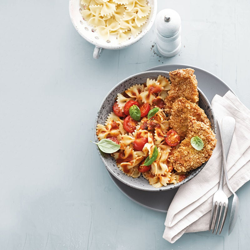 Photo de Mini-schnitzels et farfalles en sauce tomate douce prise par WW