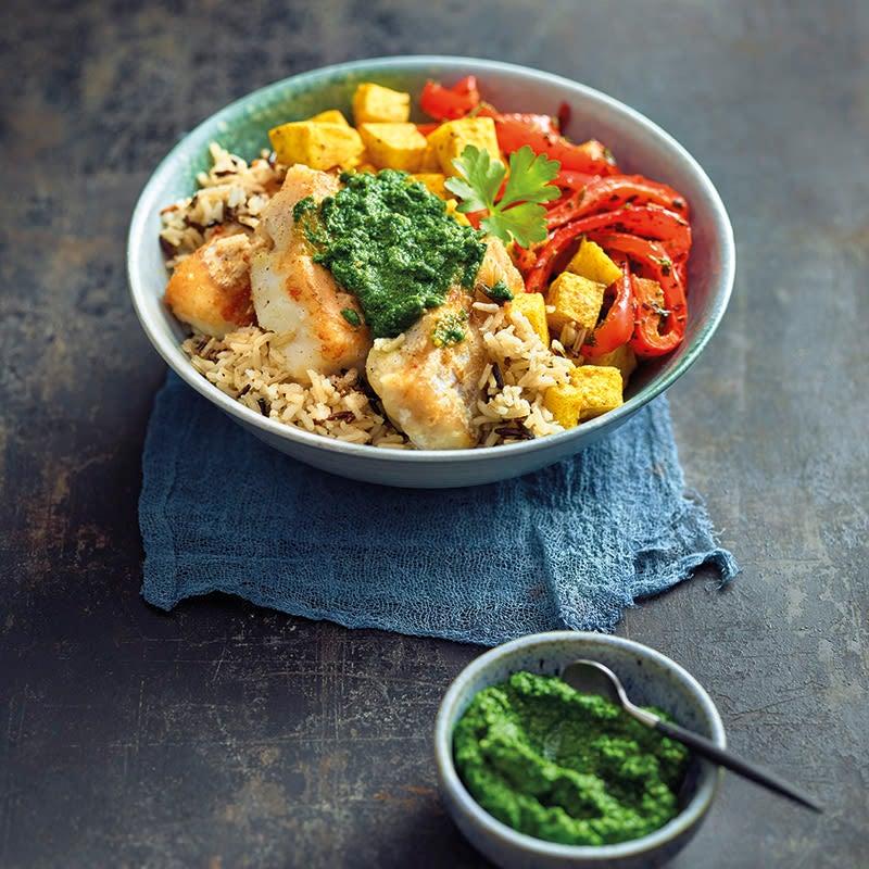 Foto van Kabeljauwbowl met wilde rijst en groenten door WW