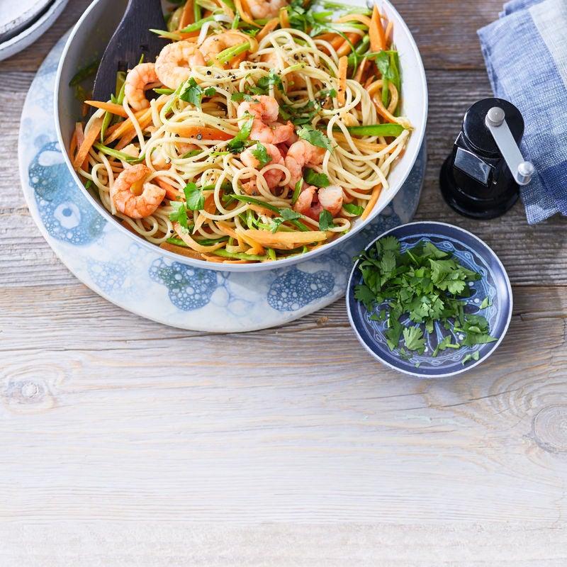 Photo de Spaghettis aux crevettes et haricots mange-tout prise par WW