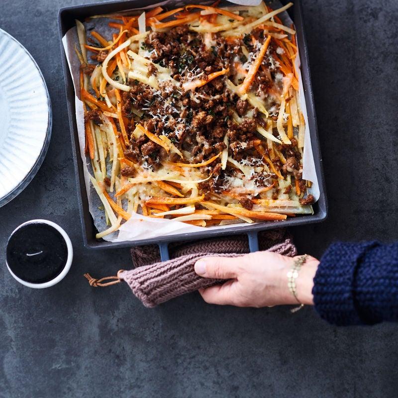 Photo de Filet américain et frites de légumes gratinées prise par WW