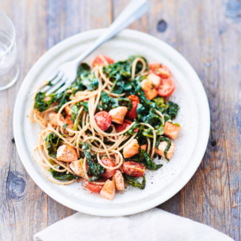 Foto van Spaghetti met spinazie en zalm door WW