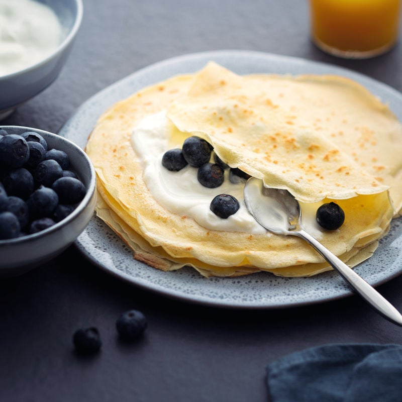 Photo de Crêpes au yaourt et aux myrtilles prise par WW