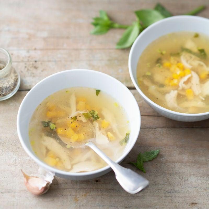 Photo de Soupe de poulet au maïs et basilic prise par WW